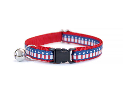 "Bow Tie Cat Collar Set - ""Parade"" - USA Flag Cat Collar w/  Blue & Red Star Bow Tie (Removable) / 4th of July / Cat, Kitten + Small Dog"