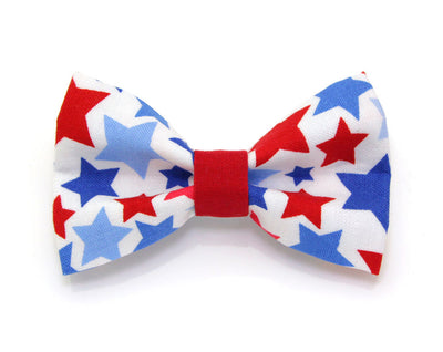 "Bow Tie Cat Collar Set - ""Patriot"" - USA Flag Cat Collar w/  Blue & Red Star Bow Tie (Removable) / 4th of July / Cat, Kitten + Small Dog"