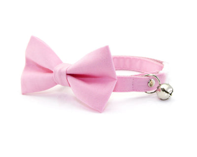 "Bow Tie Cat Collar Set - ""Color Collection - Pastel Pink"" - Cat Collar + Matching Bow Tie (Removable)"