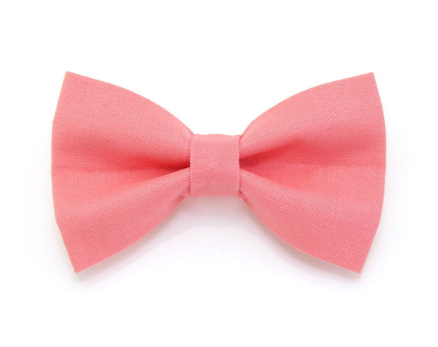 "Bow Tie Cat Collar Set - ""Color Collection - Coral Pink"" - Cat Collar + Matching Bow Tie (Removable)"