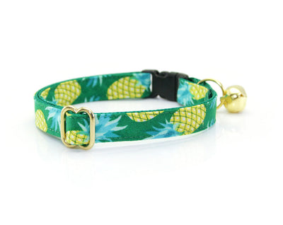 "Cat Collar - ""Pineapple Aqua"" - Green & Mint Summer Cat Collar - Breakaway Buckle or Non-Breakaway / Cat, Kitten + Small Dog Sizes"