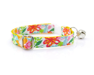 "Cat Collar - ""Celeste"" - Marigold & Mint Floral Cat Collar - Breakaway Buckle or Non-Breakaway / Cat, Kitten + Small Dog Sizes"