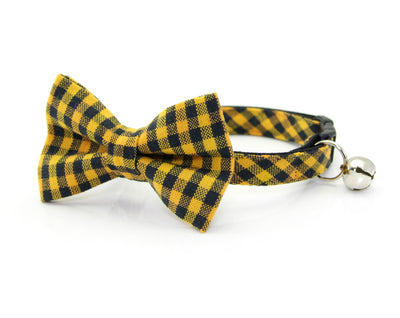 "Cat Collar - ""Bees Knees"" - Yellow & Black Gingham Plaid Cat Collar - Breakaway Buckle or Non-Breakaway / Cat, Kitten + Small Dog Sizes"