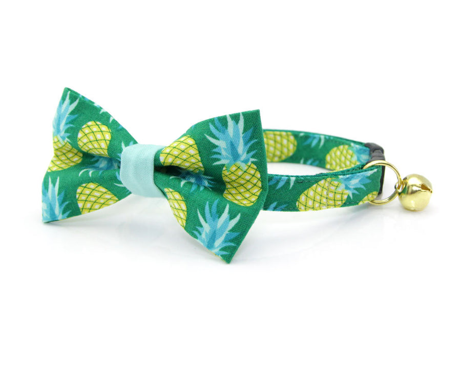 "Tropical Cat Bow Tie - ""Pineapple Aqua"" - Green Cat Collar Bow Tie / Kitten Bow Tie / Small Dog Bowtie / Fruit / Removable (One Size)"