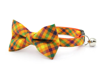 "Cat Bow Tie - ""Tahoe"" - Orange Sunset Plaid Cat Collar Bow Tie / Kitten Bow Tie / Small Dog Bowtie / Summer / Fall / Removable (One Size)"
