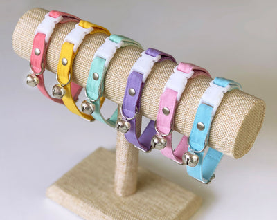 "Cat Collar + Flower Set - ""Color Collection - Coral Pink"" - Cat Collar w/ ""Coral"" Flower (Detachable) / Cat, Kitten & Small Dog"