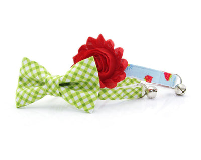 "Bow Tie Cat Collar Set - ""Key Lime Pie"" - Leaf Green Gingham Plaid Cat Collar + Matching Bow Tie (Removable)"