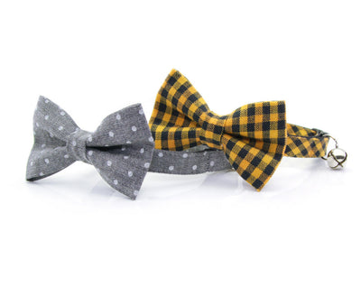 "Bow Tie Cat Collar Set - ""Bee's Knees"" - Yellow Gingham Plaid Cat Collar + Matching Bow Tie (Removable)"