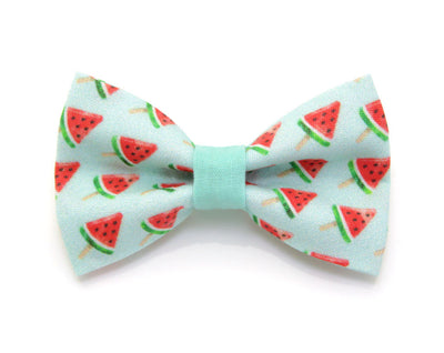 "Bow Tie Cat Collar Set - ""Watermelon Pops"" - Mint Fruit Cat Collar + Matching Bow Tie (Removable)"