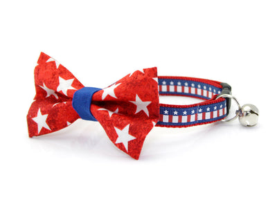 "Bow Tie Cat Collar Set - ""Victory"" - USA Flag Cat Collar w/  Red & White Star Bow Tie (Removable) / 4th of July / Independence Day"