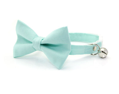 "Bow Tie Cat Collar Set - ""Color Collection - Mint"" - Cat Collar + Matching Bow Tie (Removable)"