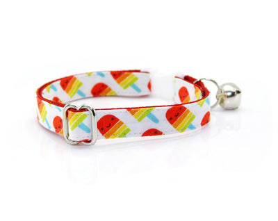 "Cat Collar - ""Rainbow Popsicles"" - Red Popsicle Cat Collar - Breakaway Buckle or Non-Breakaway / Cat, Kitten + Small Dog Sizes"