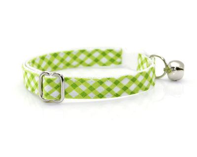 "Cat Collar - ""Key Lime Pie"" - Leaf Green Gingham Plaid Cat Collar - Breakaway Buckle or Non-Breakaway / Cat, Kitten + Small Dog Sizes"