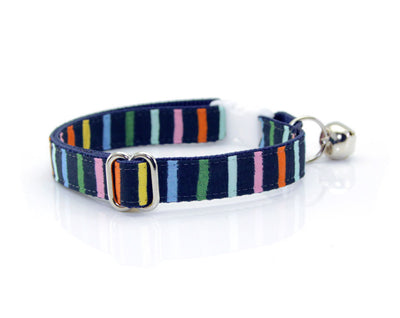 "Cat Collar - ""Cape Cod"" - Rifle Paper® Fabric - Navy Rainbow Stripe Cat Collar - Breakaway Buckle or Non-Breakaway / Cat, Kitten + Small Dog Sizes"
