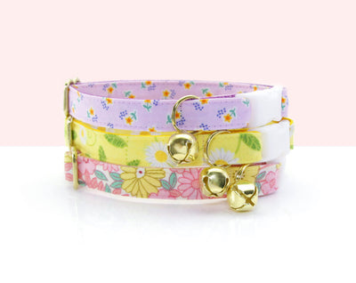 "Cat Collar - ""Brigitte"" - Pink Flower Cat Collar - Breakaway Buckle or Non-Breakaway / Cat, Kitten + Small Dog Sizes"