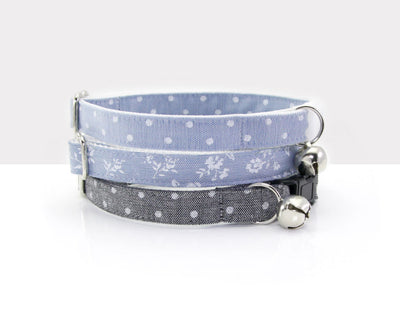 "Cat Collar - ""Merritt"" - Light Blue Chambray Dot Cat Collar - Breakaway Buckle or Non-Breakaway / Cat, Kitten + Small Dog Sizes"