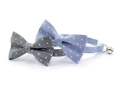 "Cat Collar - ""Park Avenue"" - Gray Chambray Dot Cat Collar - Breakaway Buckle or Non-Breakaway / Cat, Kitten + Small Dog Sizes"