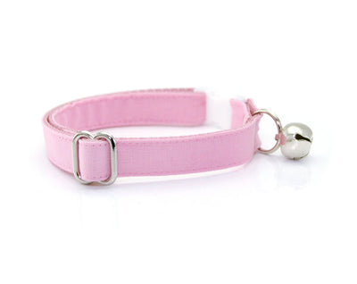 "Cat Collar - ""Color Collection - Pastel Pink"" - Baby Pink Cat Collar - Breakaway Buckle or Non-Breakaway / Cat, Kitten + Small Dog Sizes"