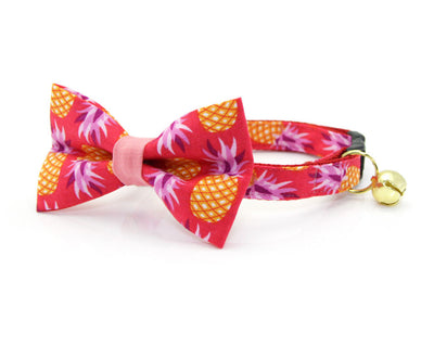 "Tropical Cat Bow Tie - ""Pineapple Berry"" - Hawaiian Red Cat Collar Bow / Kitten Bow Tie / Small Dog Bowtie / Summer / Removable (One Size)"