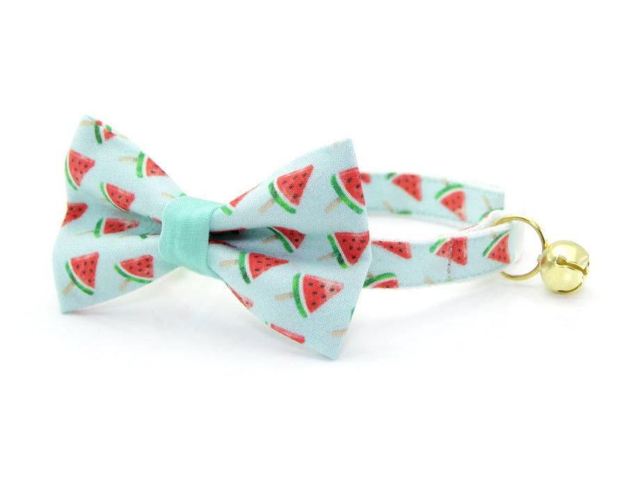 "Fruit Cat Bow Tie - ""Watermelon Pops"" - Mint Cat Collar Bow Tie / Kitten Bow Tie / Small Dog Bowtie / Summer / Removable (One Size)"