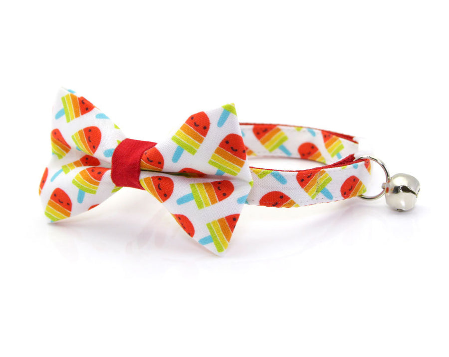 "Cat Bow Tie - ""Rainbow Popsicles"" - Red Popsicle Cat Collar Bow Tie / Kitten Bow Tie / Small Dog Bowtie / Summer / Removable (One Size)"