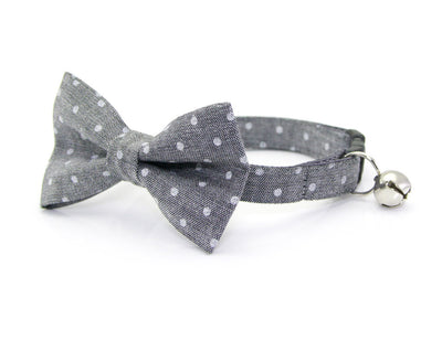 "Chambray Cat Bow Tie - ""Park Avenue"" - Gray Dot Cat Collar Bow Tie / Kitten Bow Tie / Small Dog Bowtie / Wedding / Removable (One Size)"