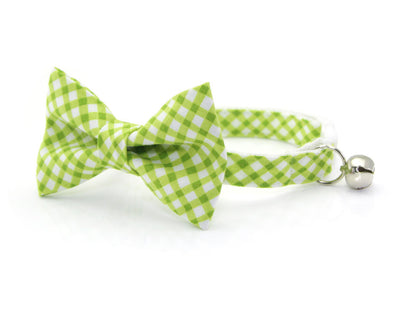 "Cat Bow Tie - ""Key Lime Pie"" - Green Gingham Plaid Cat Collar Bow Tie / Kitten Bow / Small Dog Bowtie / Spring / Removable (One Size)"