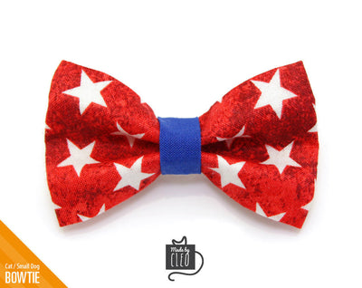 "4th of July Cat Bow Tie - ""Victory"" - Red & White Stars Bow Tie / Patriotic / USA / Kitten Bow / Small Dog Bowtie / Removable (One Size)"