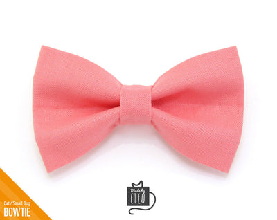 "Cat Bow Tie - ""Color Collection - Coral Pink"" - Cat Collar Bow Tie / Kitten Bow Tie / Small Dog Bowtie / Wedding / Removable (One Size)"