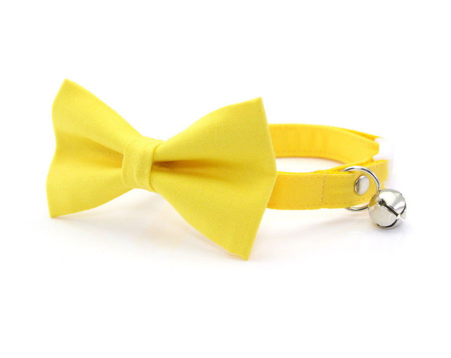 "Cat Bow Tie - ""Color Collection - Yellow"" - Dandelion Yellow Cat Collar Bow Tie / Wedding / Removable (One Size)"