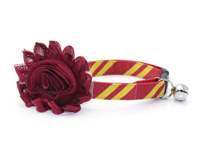 "Cat Collar - ""Wizarding School / Scarlet"" - Harry Potter-Inspired Cat Collar / Gryffindor Maroon / Cat, Kitten + Small Dog Sizes"