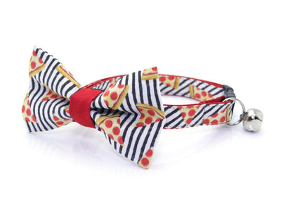 "Pizza Cat Collar - ""Pizza Party"" - Black & White Stripe Cat Collar - Breakaway Buckle or Non-Breakaway / Cat, Kitten + Small Dog Sizes"