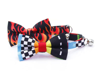 "Cat Collar - ""Speed Racer"" - Racing Cat Collar - Breakaway Buckle or Non-Breakaway / Cat, Kitten + Small Dog Sizes"