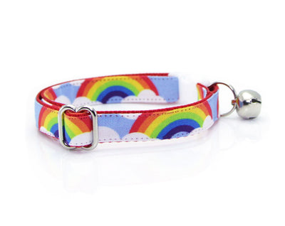 "Cat Collar - ""Rainbow Magic"" - 80s Retro / LGBTQ Pride Cat Collar - Breakaway Buckle or Non-Breakaway / Cat, Kitten + Small Dog Sizes"