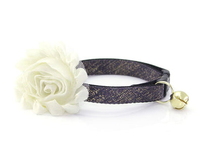 "Cat Collar - ""Twilight"" - Dark Slate / Eggplant with Gold Texture Cat Collar - Breakaway Buckle or Non-Breakaway / Cat, Kitten + Small Dog Sizes"
