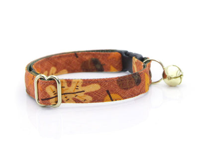 "Autumn Cat Collar - ""Fall-ing For You"" - Fall Leaves & Acorns on Burnt Orange Cat Collar - Breakaway Buckle or Non-Breakaway / Cat, Kitten + Small Dog Sizes"