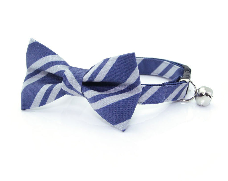 "Cat Bow Tie - ""Wizarding School / Blue"" - Harry Potter-Inspired Cat Collar Bow Tie / Cat + Small Dog Bowtie / Removable (One Size)"