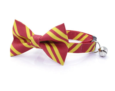 "Cat Bow Tie - ""Wizarding School / Scarlet"" - Harry Potter-Inspired Cat Collar Bow Tie / Cat + Small Dog Bowtie / Removable (One Size)"
