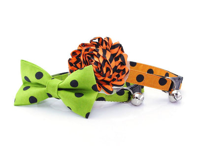 "Halloween Cat Bow Tie - ""Spooky Dots / Ghoulish Green"" - Cat Collar Bow Tie / Cat, Kitten, Small Dog Bowtie / Removable (One Size)"