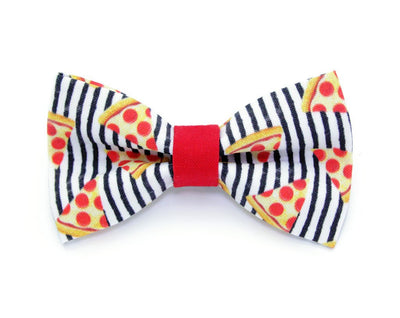 "Bow Tie Cat Collar Set - ""Pizza Party"" - Red, Black & White Stripe Cat Collar w/Matching Bow Tie (Removable)"