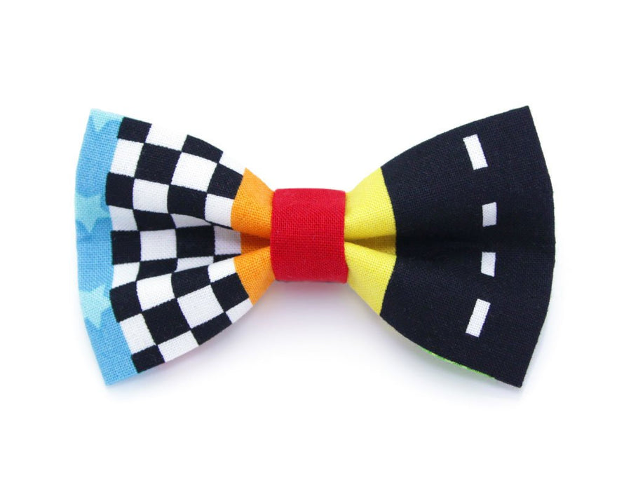 "Cat Collar Set - ""Speed Racer"" - Racing Cat Collar w/ Matching Bow Tie (Removable)"