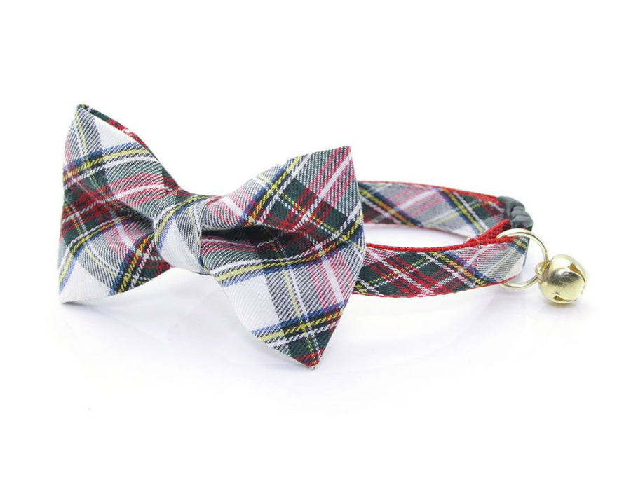 "Plaid Cat Bow Tie - ""Orchard House"" - Red & Ivory Cat Collar Bow Tie / Holiday / Christmas / Cat + Small Dog Bowtie / Removable (One Size)"