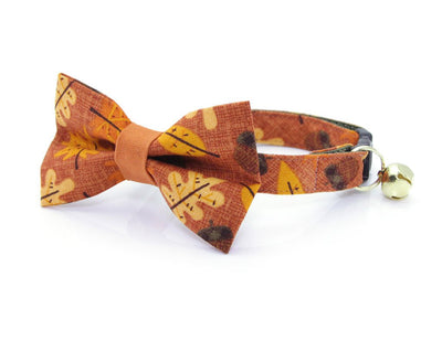 "Autumn Cat Bow Tie - ""Fall-ing For You"" - Fall Leaves & Acorns on Burnt Orange Cat Collar Bow Tie / Thanksgiving / Removable (One Size)"