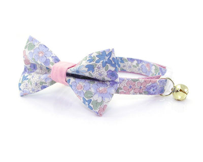 "Floral Cat Bow Tie - ""Willow"" - Light Pink, Purple & Blue Cat Collar Bow Tie / Cat, Kitten, Small Dog Bowtie / Removable (One Size)"