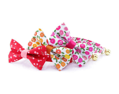 "Floral Cat Bow Tie - ""Rosalie"" - Fuchsia Pink Flower Cat Collar Bow Tie / Cat, Kitten, Small Dog Bowtie / Removable (One Size)"