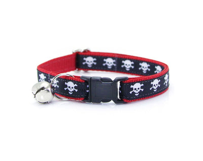 "Pirate Bow Tie Cat Collar Set - ""Spirit Walker Red"" - Black & Red Skull Cat Collar w/Matching Bow Tie (Removable)/Cat, Kitten + Small Dog"
