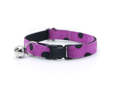 "Cat Collar + Flower Set - ""Spooky Dots / Potion Purple"" - Polka Dot Cat Collar w /  ""Violet"" Purple Flower (Detachable)"