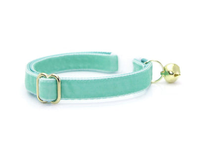 "Velvet Cat Collar - ""Mint"" - Robin's Egg Cat Collar - Breakaway Buckle or Non-Breakaway / Cat, Kitten + Small Dog Sizes"