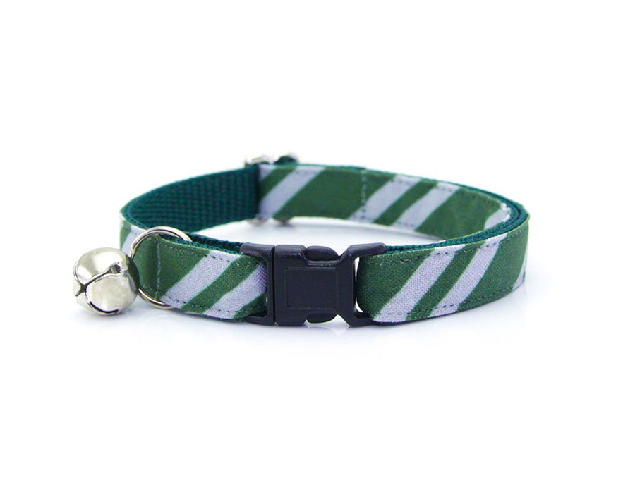 "Cat Collar - ""Wizarding School / Green"" - Harry Potter-Inspired Cat Collar / Slytherin / Cat, Kitten & Small Dog Sizes"