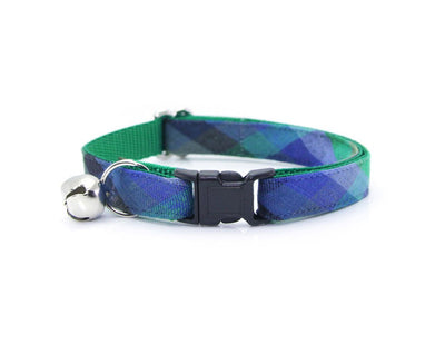 "Cat Collar - ""Moonrise"" - Blue & Green Plaid Cat Collar - Breakaway Buckle or Non-Breakaway / Cat, Kitten + Small Dog Sizes"